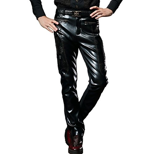 FANZHUAN Pu Hose Zipper Kunstlederhose Skinny Hose Aus Leder Hosen Herren Fashion