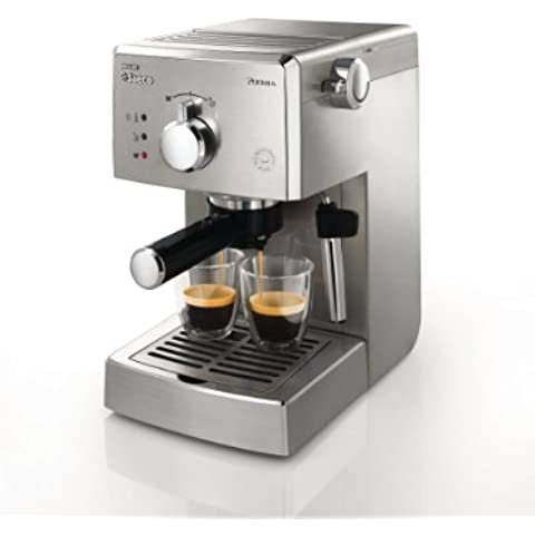 Saeco HD8327/01 - Cafetera Saeco Poemia espresso manual,950W,con Café molido y Easy Serving Espresso (E.S.E.),Bomba de 15 bares, filtro a presión para crema, superficie calienta tazas