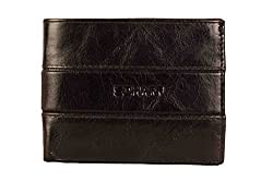 SCHARF Explore All Avenues Black Genuine Leather Bi-Fold Wallet for Men MWA03V