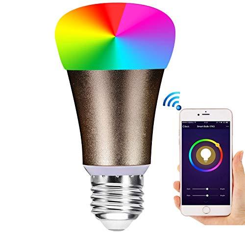 Alexa Lamp-Fernbedienung wifi Lampe 7 W RGB E27 2700K bis 6500K Entsprechende Lampe Led-Lichtfernbedienung wifi Lamp Remote und Sprachsteuerung durch Amazon Alexa und Google Home 4 Pack
