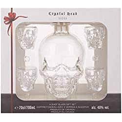 Crystal Head Vodka + GB con 4 Shotgläsern 40,00% 0.7 l.