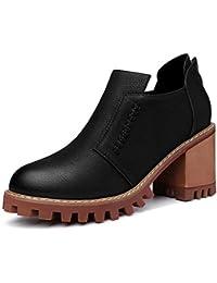 f4266f7f5b6ad La Sra zapatos de primavera y otoño de cabeza redonda con gruesos zapatos de  cuero de tacón alto de la Sra