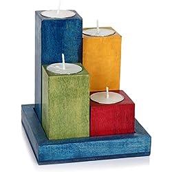 Juego de portavelas con bandeja de madera en acabado multicolor para decoración del hogar//De Regalo De Navidad