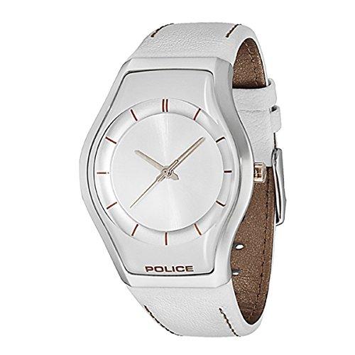 Police 12778MS/04A - Reloj analógico de cuarzo para mujer con correa de piel, color blanco