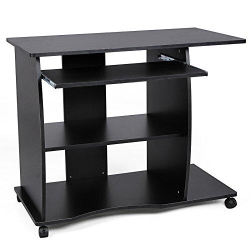 Songmics Schreibtisch Computertisch Bürotisch auf Rollen 2 Ablageböden 90 x 75 x 50 cm LCD751B