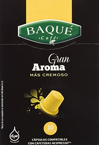 Cafés Baqué Cápsulas Compatibles Nespresso Gran Aroma - 50 gr - , Pack de 6