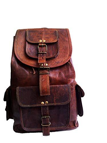 Jaald 53 Cm Zaino Bagaglio Borsa Zainetto Carry on a Palestra Mano in Vera Pelle da Uomo Donna Leather Laptop Backpack da Viaggio Scuola Universita Professionale Casual Vintage Elegante Regalo