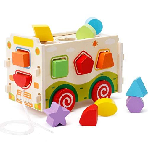 Egosy Wooden Shape Sorter Toys Hölzerne Form Sorter mit Tangram 3D Push Truck Block Bus Spielzeug