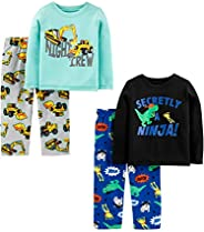 Simple Joys by Carter's 4-Piece Pajama Set (Poly Top & Fleece Bottom) Bambino, Pa