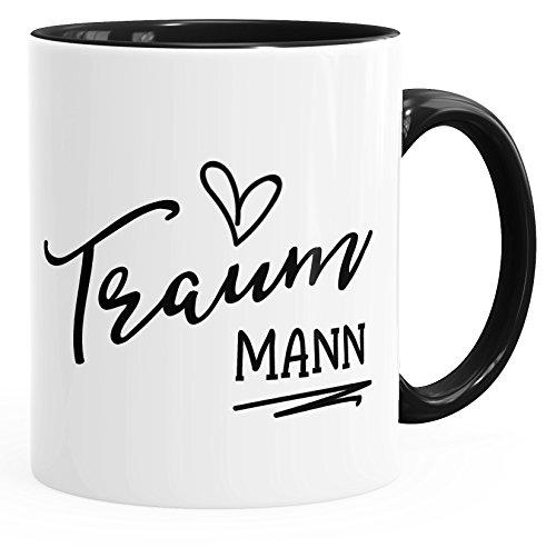 MoonWorks Geschenk-Tasse für Freund Mann Traummann Herz Partner Kaffee-Tasse mit Innenfarbe schwarz Unisize