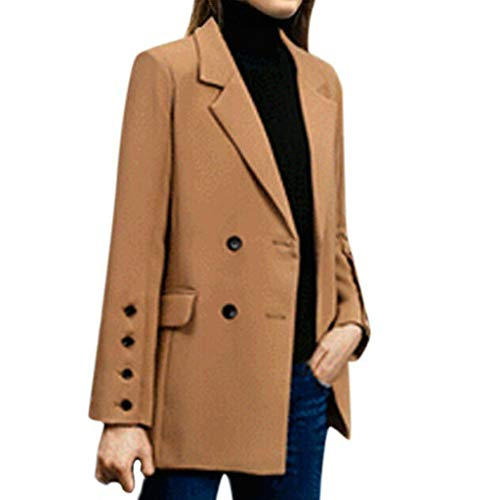 Damen Sakko Cardigan Winter Mantel Damen Warme Lose Jacke Elegante Wolle Windjacke Zweireiher Revers Parka Outwear Langarm Trenchcoat Arbeit Freizeit Übergangsjacket Jeans T-Shirt Pumps