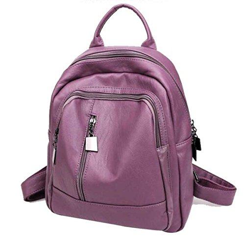 Donne Trend Borsa A Tracolla Grande Capacità PU moda Zaino Da Viaggio Purple