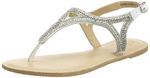 New look future, sandali con cinturino alla caviglia donna, bianco (white), 36 eu