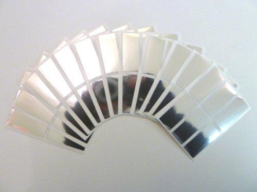 35x15mm Etiquetas , Rectangulo , Brillante Plateado , Plástico / Vinilo Color Code Pegatinas , autoadhesivo Etiquetas Adhesivas
