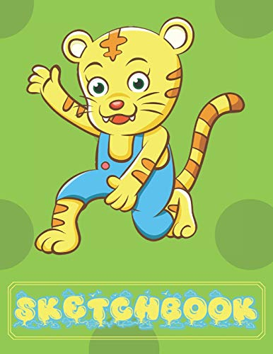Cheetah Sketchbook: Cute Jaguar Cat Sketchbook for Kids Animal Lovers to Sketching, Whiting, Drawing, Journaling and Doodling (8.5x11) 120 Blank Pages for Children (Green&Yellow&Blue Pattern)