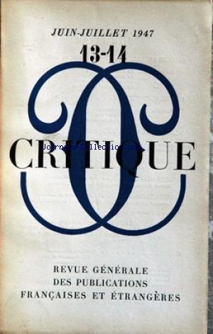CRITIQUE [No 13] du 01/06/1947 - BATAILL...