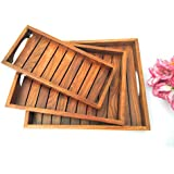 Global International Wooden Handmade Serving Tray Set Of 3 Size Simple & Looking For Home & Dinnig Table,Tea Coffee Snack Dessert