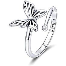 0d75c409c5b3 Chengmen Rings Jewellery Anillo Ajustable de Plata de Ley 925
