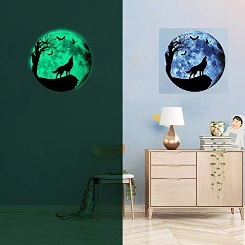 Fairylove Fluoreszierende Leuchtstoff leuchtender Mond Cartoon DIY 3D Wandaufkleber Wandbilder Tiere Wolfs Fledermaus Vampir WohngebäudeDekor für Teenager-Wohnzimmer Im Dunkeln leuchtenKunstwerk