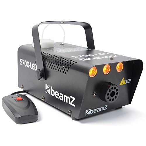 Beamz S700-LED Nebelmaschine mit Flammeneffekt, Leistung 700W, 250-ml-Tank, Durchfluss des Nebels 7m³/min, Fernbedienung mit 3m Kabel und Wand- und Deckenhalterung, 3Minuten Aufwärmzeit, schwarz (Ac-durchfluss-schalter)