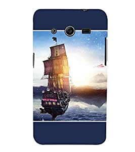For Samsung Galaxy Core 2 G355H :: Samsung Galaxy Core Ii :: Samsung Galaxy Core 2 Dual vintage ship, ship, ship in water, mountain, blue background Designer Printed High Quality Smooth Matte Protective Mobile Case Back Pouch Cover by APEX