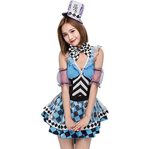 Checkered Blue Mad Hatter Fancy Dress Costume- UK 6-10