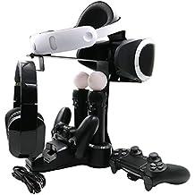 AMZtronics PlayStation 4 VR Cargador Stand, PSVR Showcase Rápido AC PS4 VR Chargeur 2Move Controlador Cargadores + 2 Puertos de carga Indicación LED con PlayStation 4 / 4s / 4pro para PlayStation 4 VR (GamePad no Incluido)