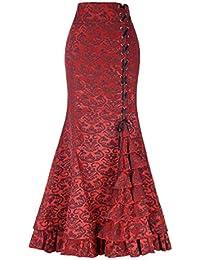 0c36b54cde Retro Estilo Victoriano Falda Mujeres Alta Cintura A-lìnea Adelgazar Faldas  Plisadas Elegantes Casual Fiesta Club