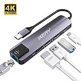 IKERY Hub USB C 5 en 1 Ethernet RJ45 1Gbps, avec Ports HDMI 4K UHD/Full HD 1080p, 2 Ports USB 3.0, Port Type C PD 87W pour MacBook...