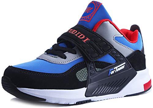 Mitudidi Jungen Laufschuhe Turnschuhe Kinder Klettverschluss Sportschuhe Outdoor Leicht Sportart Sneaker Hallenschuhe für Unisex-Kinder Blau 37