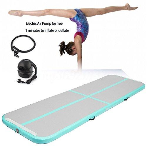 Aufblasbare Gymnastik-stolpernde Matten-Luft-Bahn-Boden-Matten mit elektrischer Luftpumpe für Hauptgebrauch / Training / Cheerleading / Strand / Park und Wasser (green)