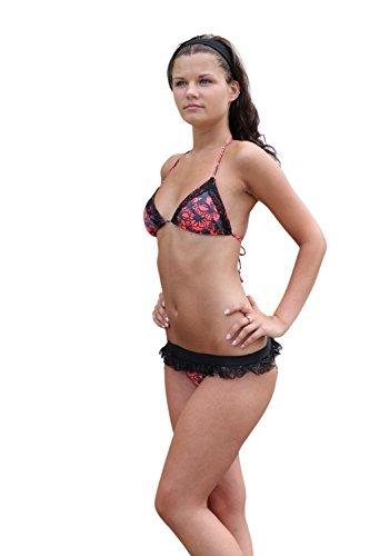 Ingear Plunge Bikini Swimsuit Flower O/Black