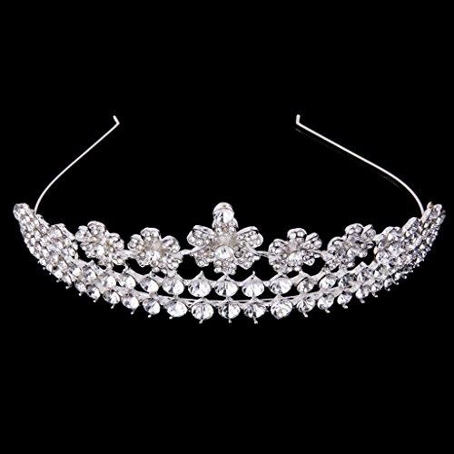 Tiara Corona Joyería de Pelo Banda Diadema Cabeza Diamantes de Imitación Flor para Nupcial Boda