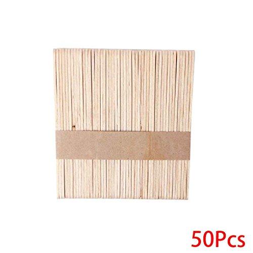 Timlatte 1Set / 50PCS Holz Waxing Wax Spatel Zungenspatel Einweg-Bambus-Sticks Kit