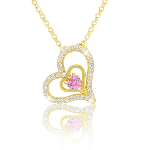 PAVEL´S Damen Herz Kette 42cm 925 Silber 18K Gold plattiert mit Zirkonia Steinen inkl. Schmuckbox und Echtheits-Zertifikat