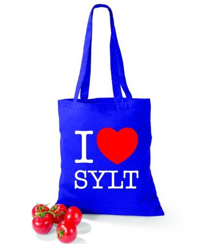 Artdiktat Baumwolltasche I love Sylt Bright Royal