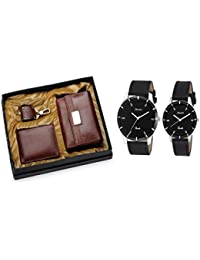 Arum Special Couple Combo In Brown Leather Brown Women's Wallet, Men's Wallet,Key Chain & Black Leather Watch