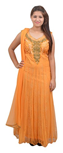 Manshi Women's Net Salwar Suit Set (Yellow, Medium)