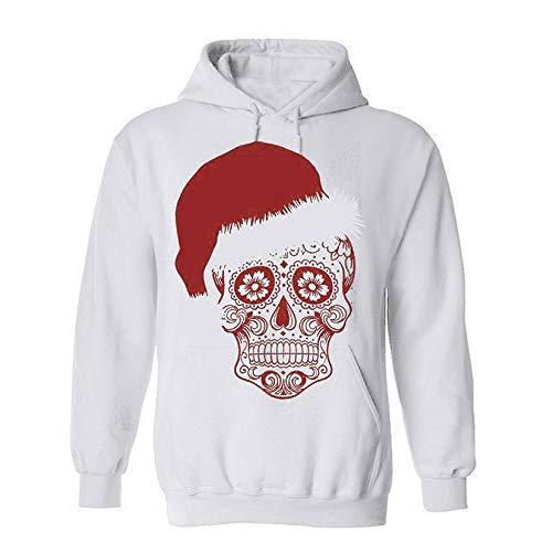 (TWIFER Damen Weihnachten Langarm Skull Print Kapuzenpulli Pullover Bluse Tops)