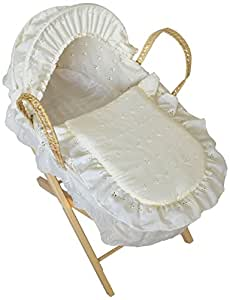 Cuddles Collection Dolls Moses Basket Cream Embroidery Anglaise with Stand