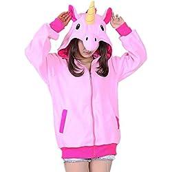 Misslight Unicornio Pijamas Animal Ropa de dormir Cosplay Disfraces Kigurumi Pijamas para Adulto Niños Juguetes y Juegos (S, Rosa Sudaderas)