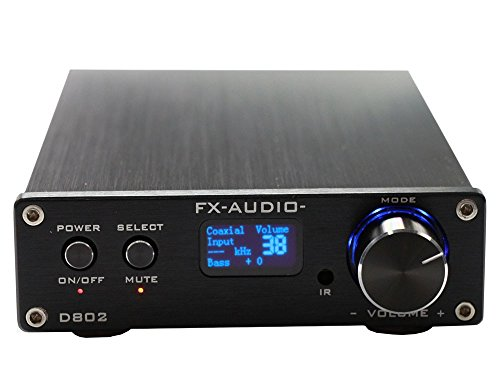 FX Audio D802 2 x 80 W 192 kHz Digital Remote Power Amplifier with USB Cable (Black)
