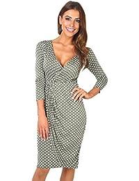 6487-KHA-12: Punkte Kreuzender V-Ausschnitt Jersey Kleid (Khaki/Weiß, Gr.40)