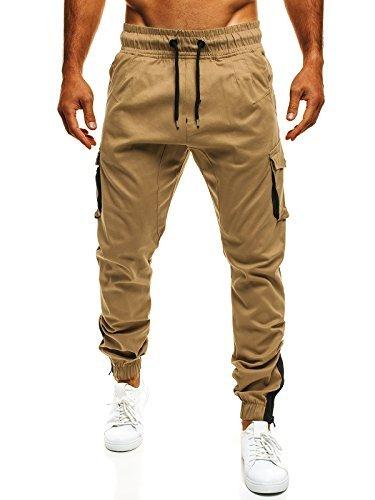 OZONEE Uomo Jogger Chino Jogging Pantaloni Cascante Pantaloni Sport Jogging Fitness ATHLETIC 705 - cotone, Cammello, 100% cotone.\n\t\t\t\t 100% cotone, Uomo, XL