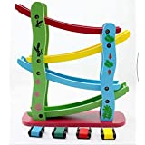 Grizzly Wood 4-Level Ramp Racer Miniature Speeding Car Toy, Multicolour, 3+ Years, 4-Level Ramp, 4 Racing Cars