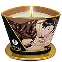 Shunga Vela de Masaje Excitation, Aroma de Chocolate, Color Blanco - 170 ml