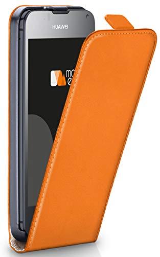 moex® Flip Case mit Magnetverschluss [R&um-Schutz] passend für Huawei Ascend Y300 | 360° Handycover aus feinem Premium Kunst-Leder, Orange