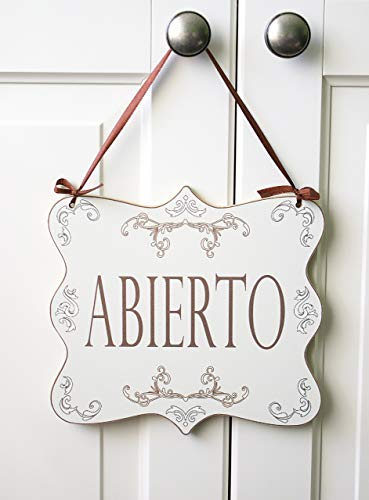Abierto/Cerrado - letrero madera colgante puerta tienda