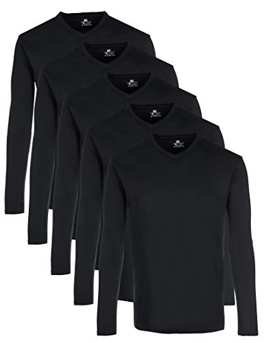 Lower East Herren Langarmshirt mit V-Ausschnitt, 5er Pack, Gr. X-Large, Schwarz