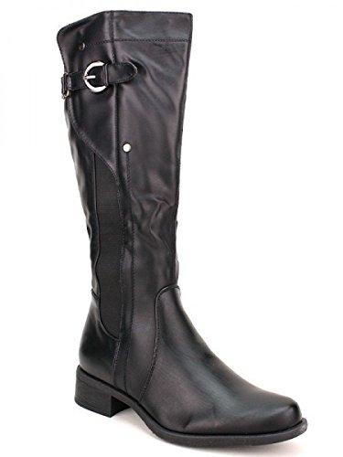 Cendriyon, Bottes Cavalière DAVANA Black Chaussures Femme Noir